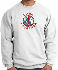 COME TOGETHER World Peace Sign Symbol Adult Sweatshirt - White