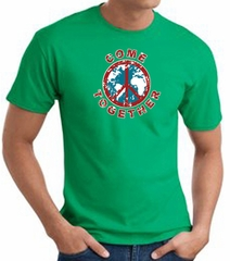 COME TOGETHER World Peace Sign Symbol Adult T-shirt - Kelly Green