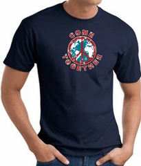 COME TOGETHER World Peace Sign Symbol Adult T-shirt - Navy Blue