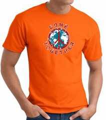 COME TOGETHER World Peace Sign Symbol Adult T-shirt - Orange