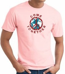 COME TOGETHER World Peace Sign Symbol Adult T-shirt - Pink