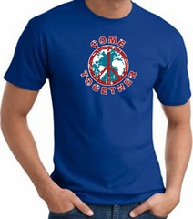 COME TOGETHER World Peace Sign Symbol Adult T-shirt - Royal