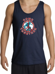 COME TOGETHER World Peace Sign Symbol Adult Tanktop - Navy