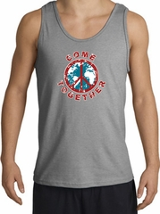 COME TOGETHER World Peace Sign Symbol Adult Tanktop - Sports Grey