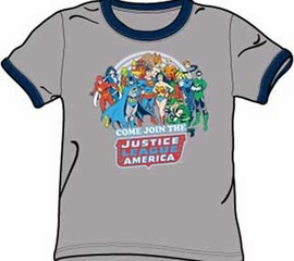 Justice League T-shirt - Come Join Adult Gray/Navy Ringer Tee