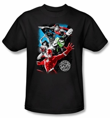 Justice League Kids T-shirt Galactic Attack Youth Black Tee Shirt
