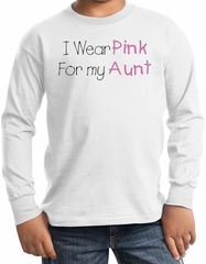 Breast Cancer Kids Long Sleeve T-shirt - I Wear Pink For My Aunt White