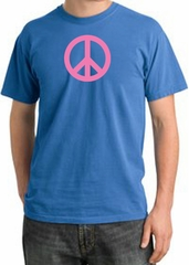 Peace Sign Shirt Pink Peace Pigment Dyed Tee Medium Blue