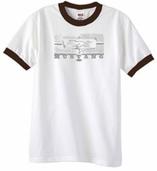 Ford Mustang Ringer T-Shirt Legend Honeycomb Grille White/Brown Shirt