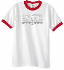 Ford Mustang T-Shirt Legend Honeycomb Grille Ringer Tee White/Red