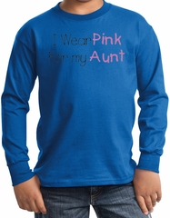 Breast Cancer Kids Long Sleeve T-shirt - I Wear Pink For My Aunt Royal