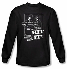 The Blues Brothers Long Sleeve T-shirt Movie Hit It Black Tee Shirt