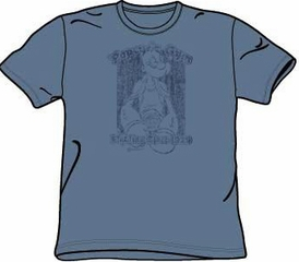 Popeye T-shirt Cartoon Popeye's gym Adult Slate Blue Tee