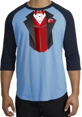 Tuxedo T-shirts Raglan With Red Vest - Carolina Blue/Navy
