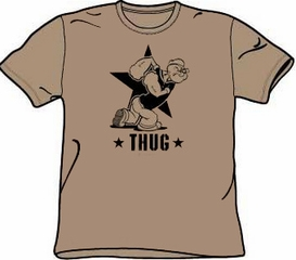 Popeye T-shirt Cartoon Hero Thug Adult Size Safari Green Tee