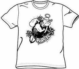 Popeye T-shirt Cartoon Stars And Anchor Adult White Tee