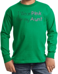 Breast Cancer Kids Long Sleeve T-shirt - Pink For My Aunt Kelly Green