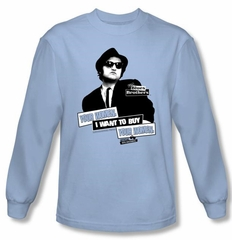The Blues Brothers Long Sleeve T-shirt Movie Light Blue Shirt