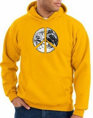 Peace Sign Hoodie Sweatshirt Earth Satellite Image Symbol Gold Hoody