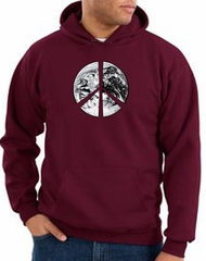 Peace Sign Hoodie Sweatshirt Earth Satellite Image Maroon Hoody