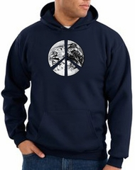 Peace Sign Hoodie Sweatshirt Earth Satellite Image Symbol Navy Hoody