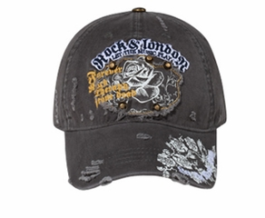 Roses Hat with Rivets Distressed Patch Lackpard Cap Charcoal Gray