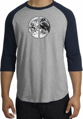 Peace Shirt Peace Earth Satellite Image Raglan Shirt Grey/Navy