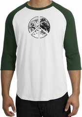 Peace Shirt Peace Earth Satellite Image Raglan Shirt White/Forest