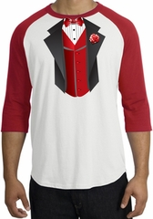 Tuxedo T-shirts Raglan With Red Vest - White/Red