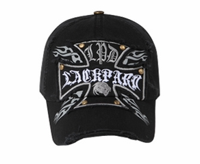 be01b2ae630 Cross Design Distressed Hat - Lackpard Cap - Black - Distressed Hats Cap