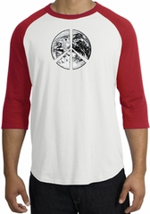 Peace Shirt Peace Earth Satellite Image Raglan Shirt White/Red