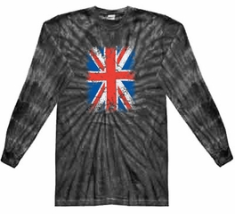 Union Jack Shirt Big Print Adult Long Sleeve Spider Black Tie Dye