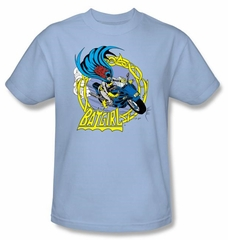 Batman T-Shirt - Batgirl Motorcycle Adult Blue Tee