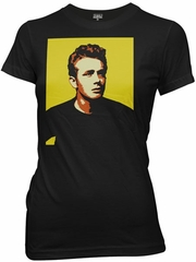 James Dean Juniors T-shirt - Portrait Cut Out Black Tee Shirt