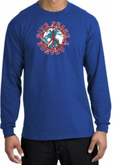 Peace Sign Long Sleeve T-shirt - Give Peace A Chance World Royal Shirt