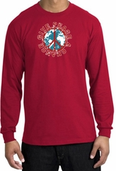 Peace Sign Long Sleeve T-shirt - Give Peace A Chance World Red Shirt