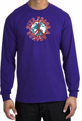 Peace Sign T-shirt Give Peace A Chance World Purple Long Sleeve Shirt
