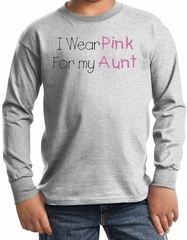 Breast Cancer Kids Long Sleeve T-shirt - I Wear Pink For My Aunt Ash