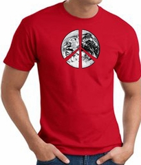 Peace Shirt Peace Earth Satellite Image Tee Red