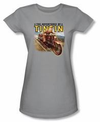 The Adventures Of Tintin Juniors T-Shirt - Open Road Silver Tee Shirt