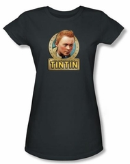 The Adventures Of Tintin Juniors T-Shirt - Metal Charcoal Tee Shirt
