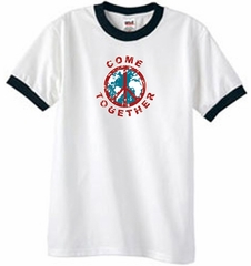 Peace Sign Shirt Come Together Ringer Shirt White/Black