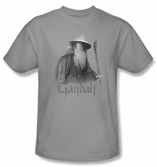 The Lord Of The Rings T-Shirt Gandalf The Grey Adult Silver Tee Shirt