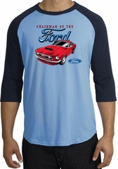 Ford Mustang Raglan Shirt - Chairman Of The Ford Carolina Blue/Navy