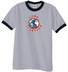 Peace Sign Shirt Come Together Ringer Shirt Heather Grey/Black
