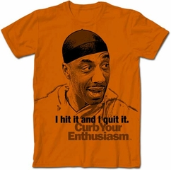 Curb Your Enthusiasm T-shirt Leon Hit It Adult Orange Tee