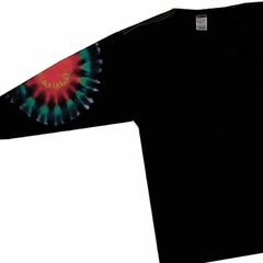 Black Elbow Adult Unisex Rainbow Tie Dye Long Sleeve Shirt