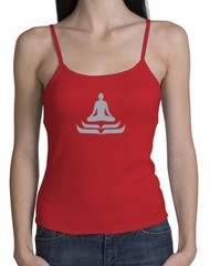 Ladies Yoga Tank – Lotus Pose Spaghetti Strap Tanktop - Red
