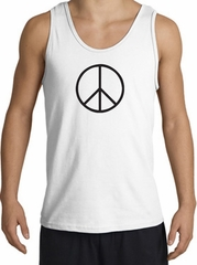 Peace Sign Tank Top Basic Peace Black Print Tanktop White