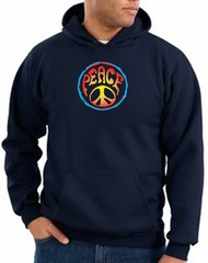 Peace Sign Hoodie Psychedelic Peace Hoody Navy